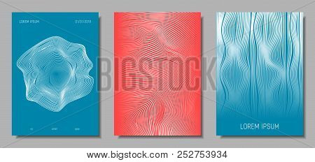 Wave Lines. Abstract Covers with Movement and Distortion Effect. Flow Striped Backgrounds. Geometric Templates Set in Pastel Color Design. EPS10 Vector. 3D Wave Abstraction for Brochure, Music Poster. stock photo