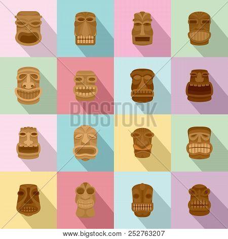 Tiki idol aztec hawaii face icons set. Flat illustration of 16 tiki idol aztec hawaii face icons for web stock photo