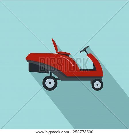 Grass cutter machine icon. Flat illustration of grass cutter machine icon for web design stock photo