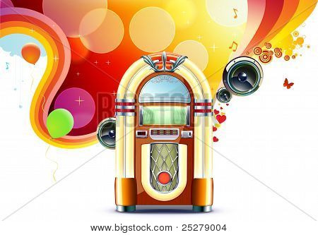 Vector illustration in retro style of party abstract background with detailed classic juke box. stock photo
