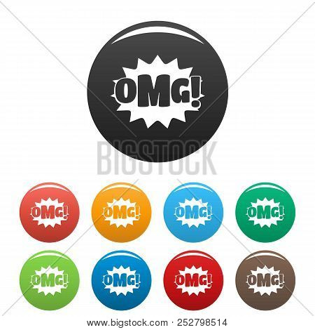 Comic boom omg icon. Simple illustration of comic boom omg icons set color isolated on white stock photo