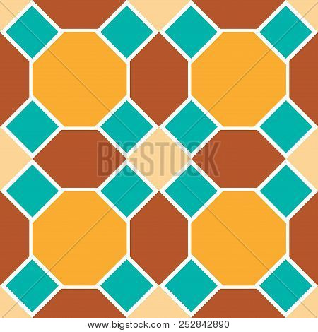 Moroccan seamless pattern, Morocco. Patchwork mosaic with traditional folk geometric ornament orange blue brown. Tribal oriental style. Vector stock photo