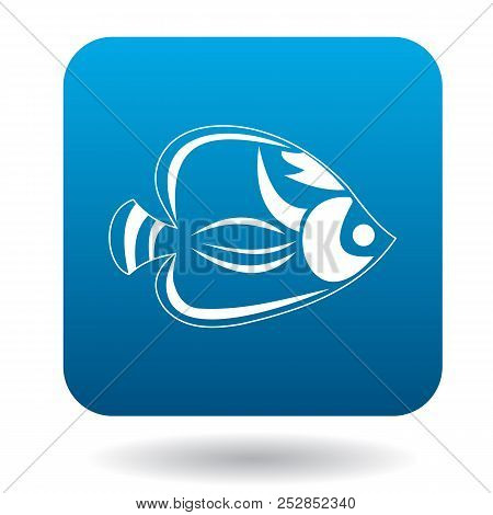 Fish tang icon in simple style in blue square. Animals symbol stock photo