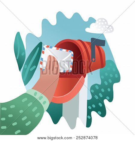 Person put or take out the letter by his hand in or out Mailbox. Envelope in postbox. Vector cartoon illustration of Postbox in modern concept stock photo