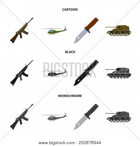 Assault rifle M16, helicopter, tank, combat knife. Military and army set collection icons in cartoon, black, monochrome style vector symbol stock illustration web. stock photo