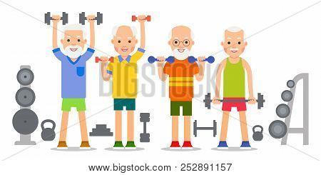 Old man doing exercises with dumbells and kettlebell. Pensioners and gymnastics with weights. Senior people making lifting weight exercises. Grandparents and Sport. Cartoon illustration isolated on white background in flat style.. stock photo