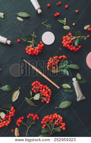 Creative artistic profession workspace flat lay top view with paintbrush and acrylic paint tubes on wooden background decorate with wild berry fruit arrangement stock photo