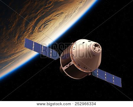 Crew Exploration Vehicle Orbiting Planet Earth. 3D Illustration. stock photo