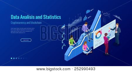Isometric web banner Data Analisis and Statistics concept. Vector illustration business analytics, Data visualization. Technology, Internet and network concept. Data and investments. stock photo