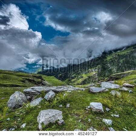 Mountain landscape in Himalayas. Kullu valley, Himachal Pradesh, India stock photo