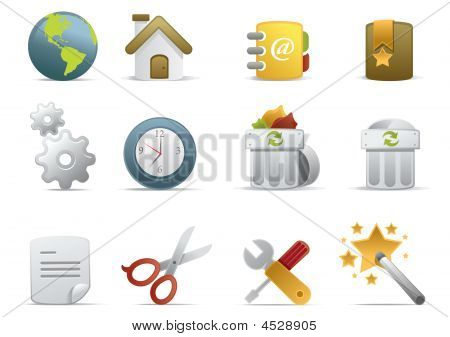 Web and Internet Icons for your website internet presentation and application project. web 2.0 style clean and professional see more icons in my portfolio. - total 7 Set in Novica Icons Series stock photo
