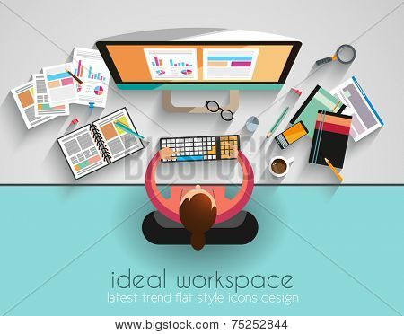 Ideal Workspace for teamwork and brainsotrming with Flat style. A lot of design elements are include