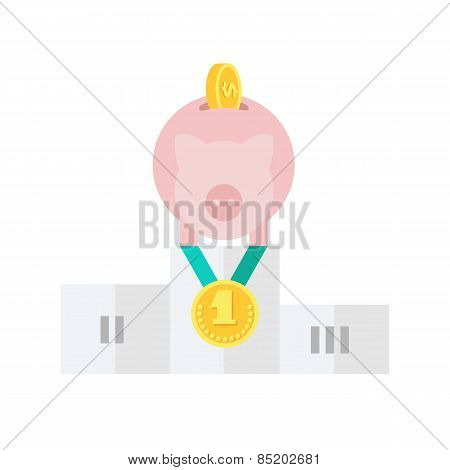 Pink Piggy Bank Standing on the Winners Podium. Conceptual Vector Flat Illustration Depicting Someone's Business Service as a Leader in Cost-Effectiveness. stock photo