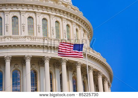 Capitol building Washington DC american flag USA congress US