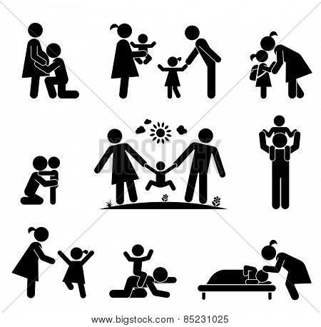 Children and their parents. Pictogram presenting parental love and care for children. Expecting baby