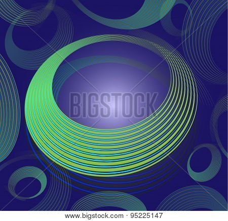 Abstract spiral circle text box on blue background stock photo