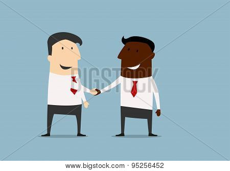 Black and caucasian businessmen shaking hands and congratulating each other with successful dea. Cartoon flat design stock photo