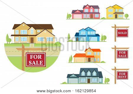 House for sale creation set. Vector flat icon suburban american house and sign for sale, sold, for rent. For web design and application interface, also useful for infographics. stock photo