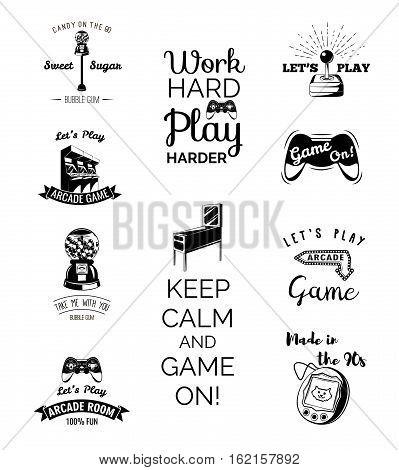 Vector video games labels set. Arcade game room. Let s play videogame. Gum machine. gumball. Arcade. Video games and Entertainment. Slot Machines. Set of Labels and Badges. stock photo