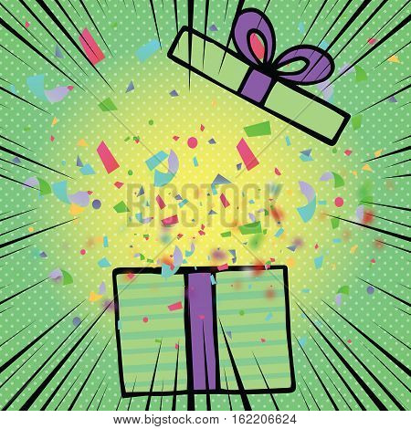 Opened Birthday Gift Box With Bow Ribbon And Colorful Confetti