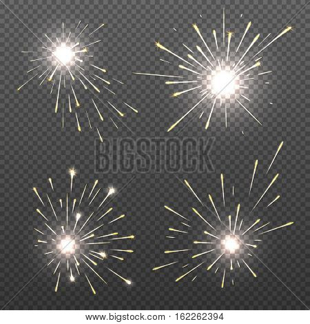 Magic spark effects, burning bengal lights, sparkler fire vector set. Bright magic spark effects for christmas holiday illustration stock photo