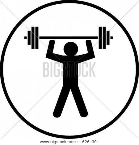 gym weight lifting symbol stock photo
