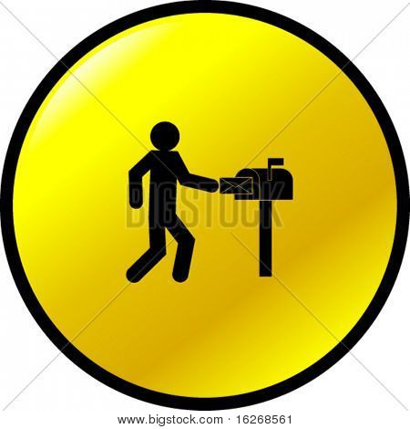 mailman button stock photo