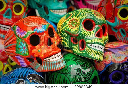 Decorated Colorful Skulls At Market, Day Of Dead, Mexico