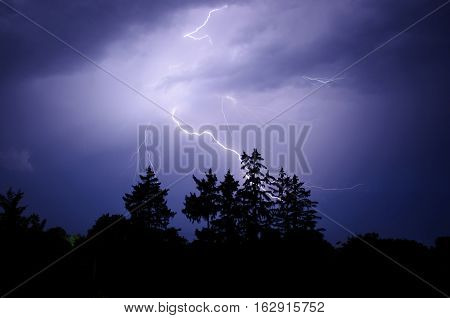 thunder and lightning in the night sky night landscape with thunderstorm