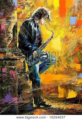 Le jeune homme jouant un saxophone