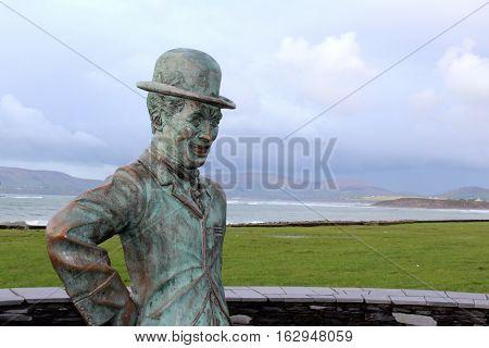 Charlie Chaplin Statue, Seaside of Mainstreet, Co. Kerry, Waterville, Ireland stock photo