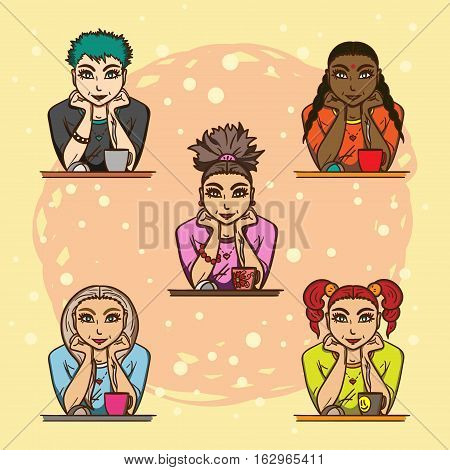 Five different lovely girls sitting in front of monitor with a cup of tea stock photo