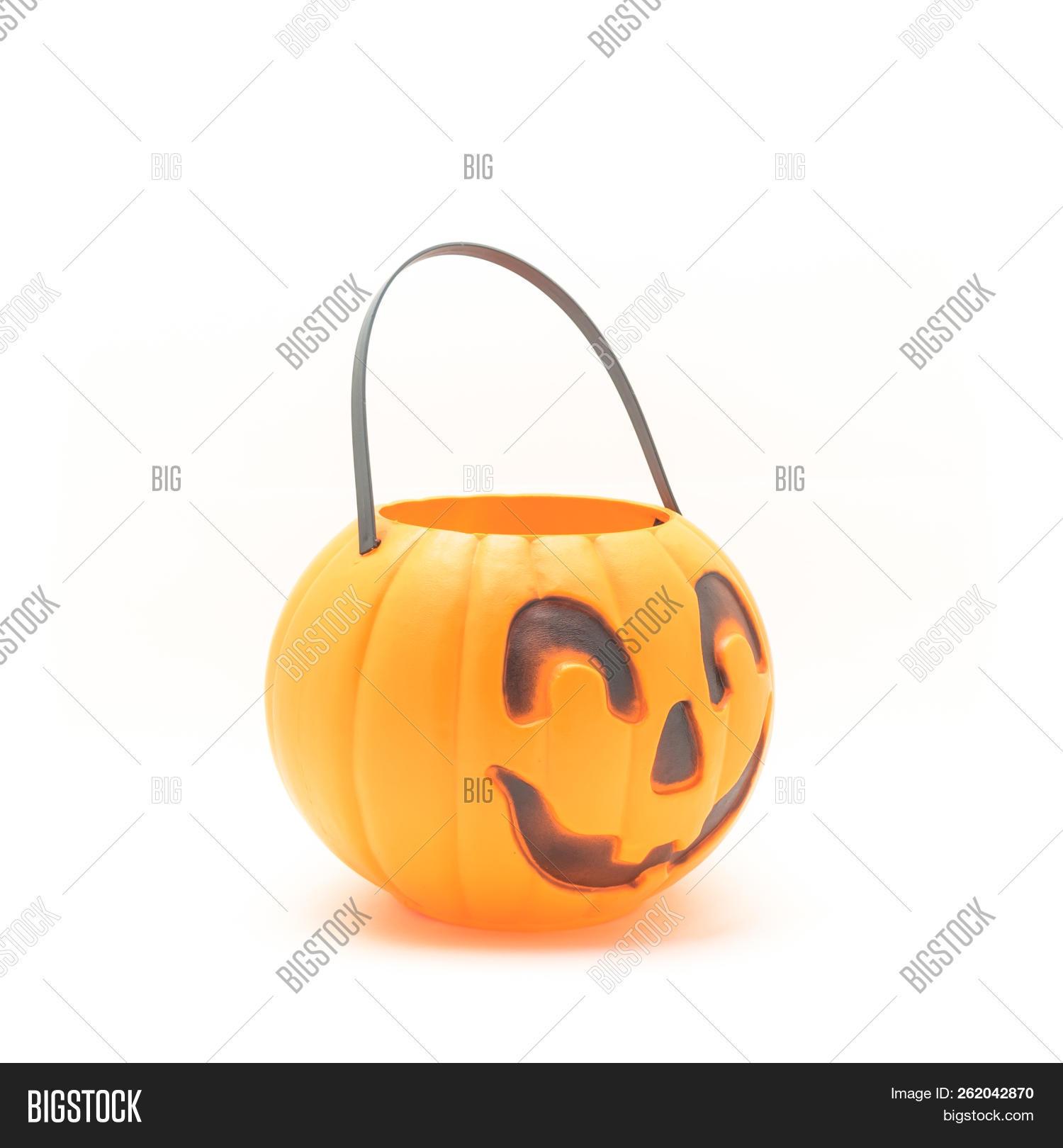 🔥 Top View Plastic Halloween Pumpkin Pail Basket Isolated