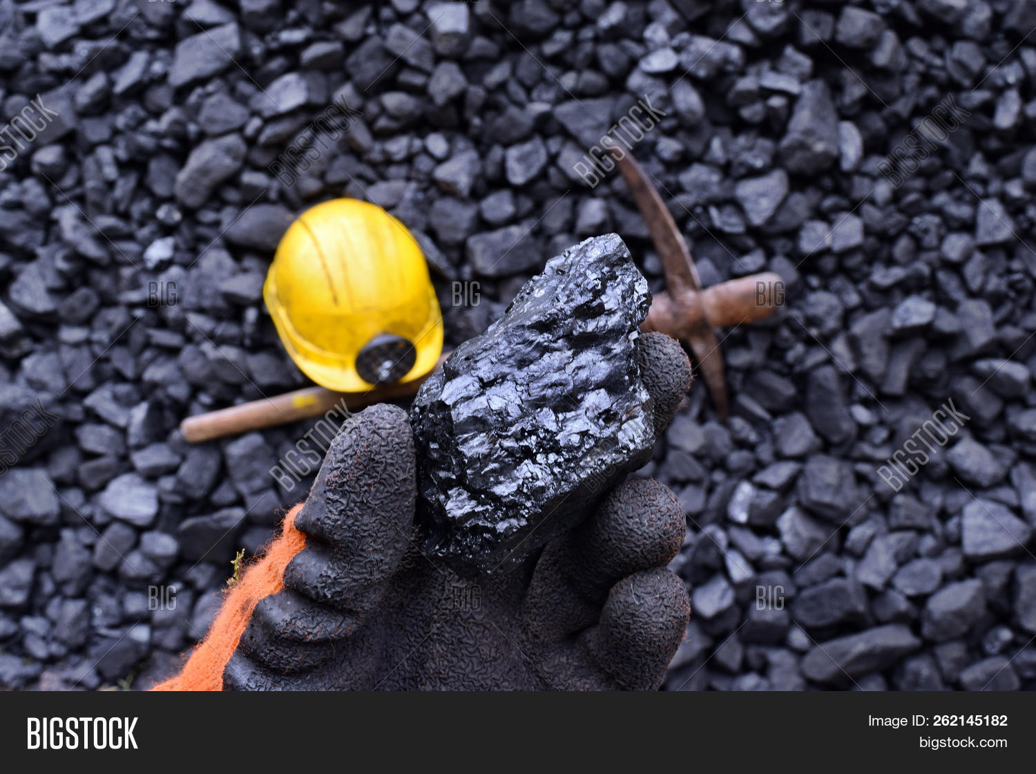 Hand Of The Miner Shows Coal In Mine