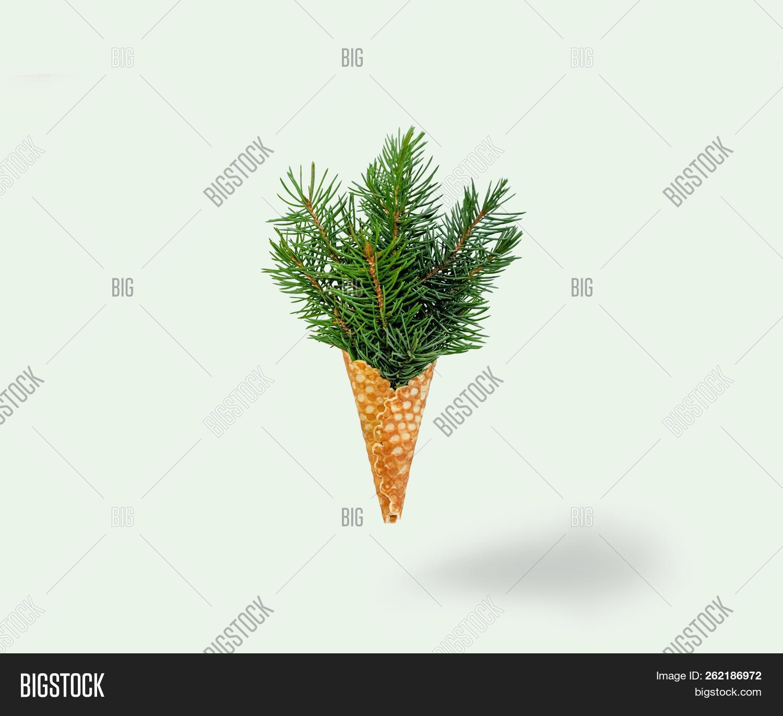 💥 Christmas Tree Ice Cream Levitation On Ligth Background. New Year ...