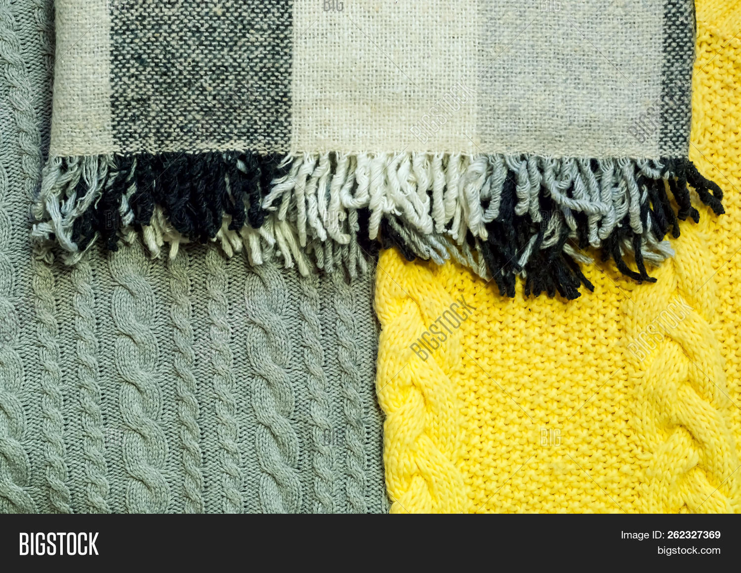 Home Decor Background Of Knitted Clothes And Checkered