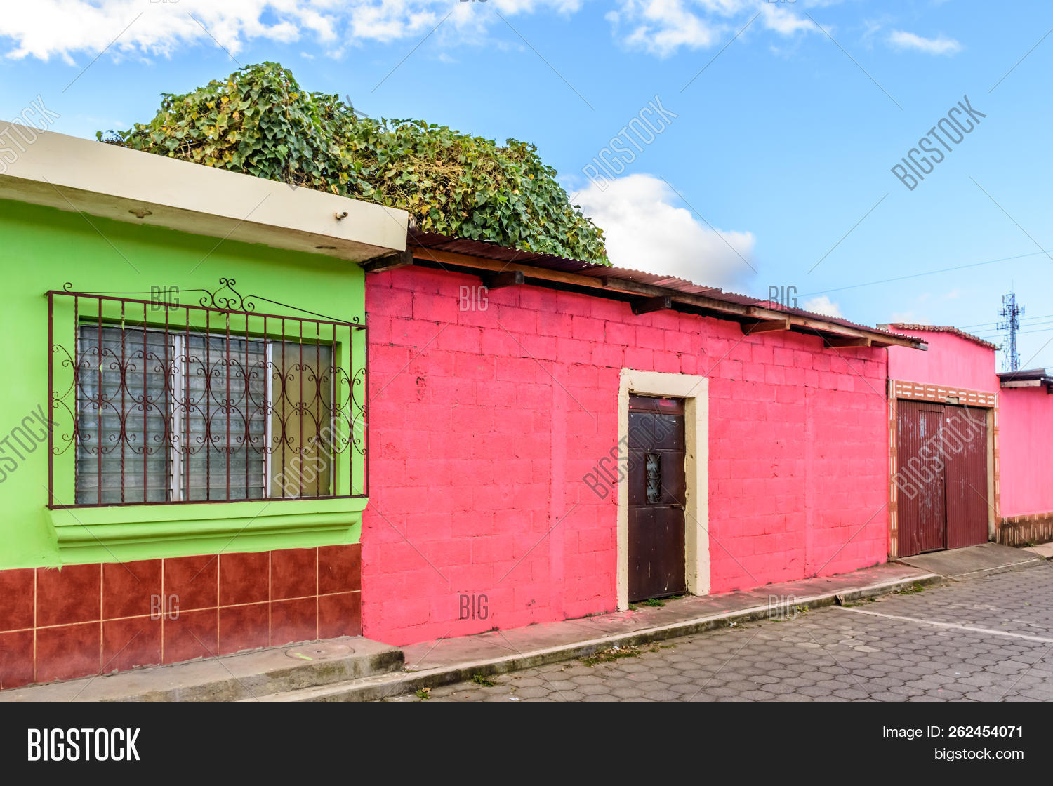 Street of colorfully painted houses in Guatemala, Central America