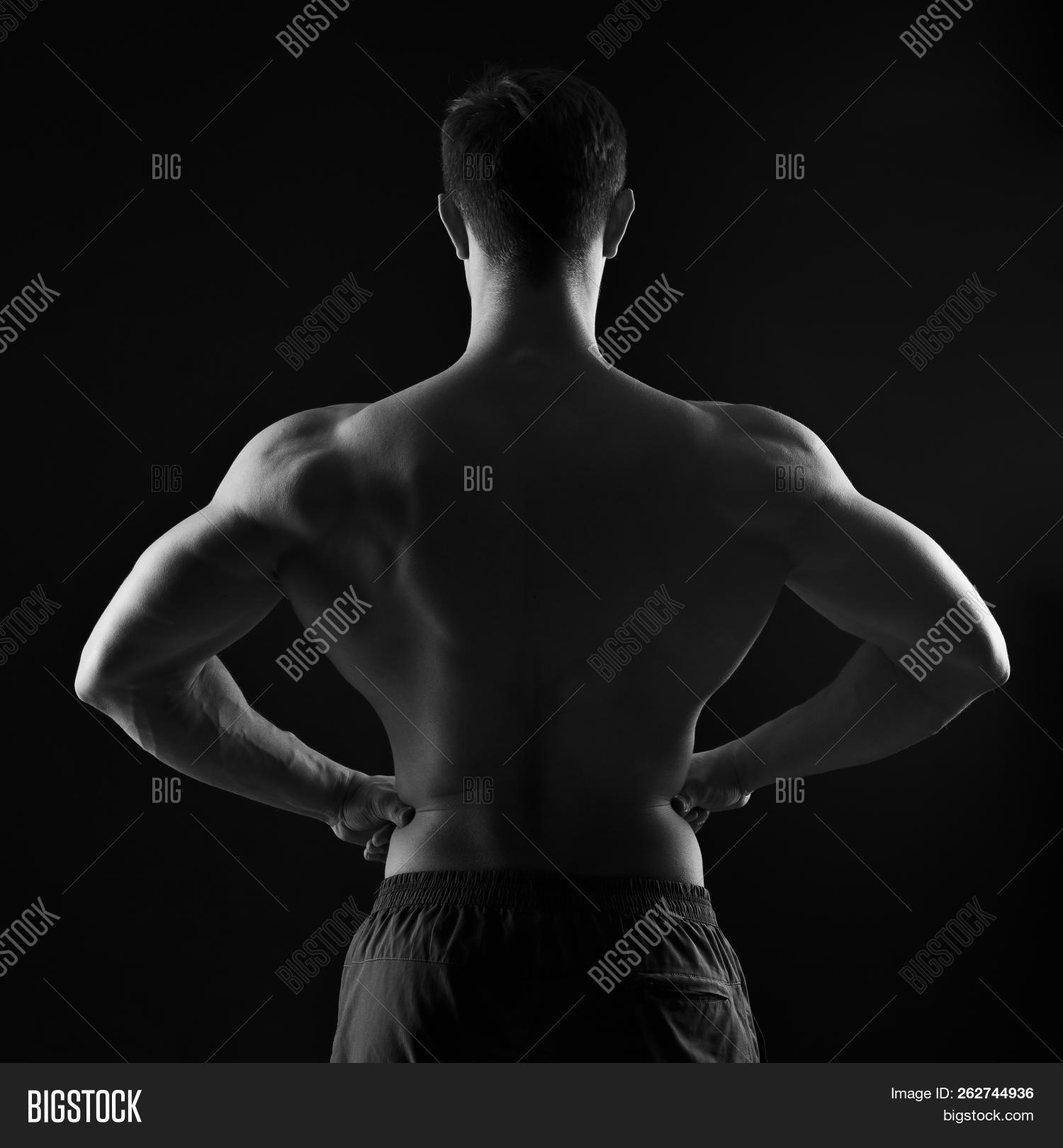 Big Back Athlete Background For Sports Black And White Photography 262744936 Image Stock Photo