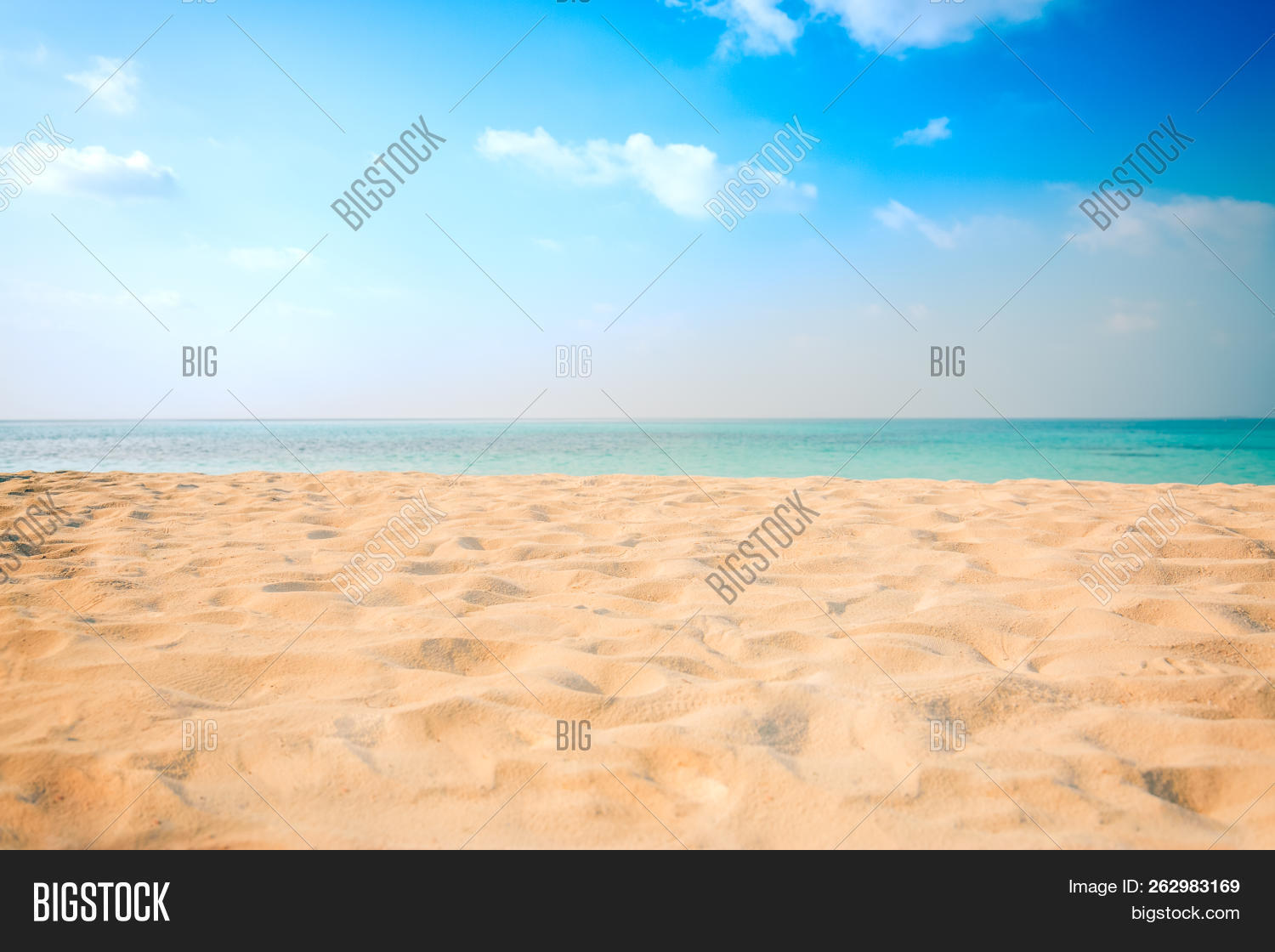 Tropical Beach. Yellow Sand Of Beach Landscape, Sea View And Endless Horizon. Empty Relaxing And Tra