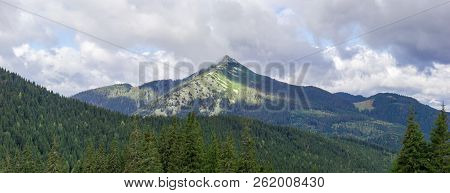 Panorama of the mountain range with stone placers towering over the slopes coverd with spruce forest in the Carpathian Mountains stock photo