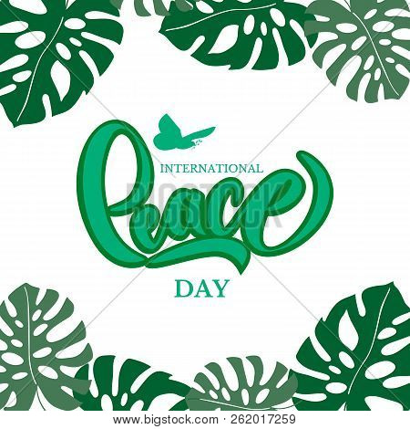 Hand drawn International Day Peace typography lettering poster. Peace dove with olive branch for International Peace Day poster. Celebration quote for badge, flyer, placard, greeting, banner. stock photo