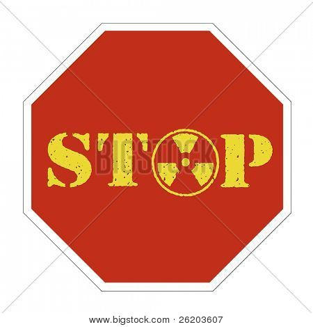 Conceptual nuclear energy stop sign stock photo