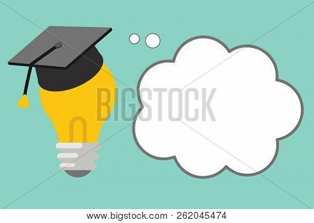 Flat design Vector Illustration Empty esp template copy space text for Ad, promotion, poster, flyer, web banner, article 3D Graduation Cap Thinking Resting on Bulb with Blank Cloud Thought Bubble stock photo