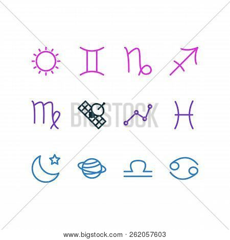 illustration of 12 astrology icons line style. Editable set of sputnik, cancer, virgo and other icon elements. stock photo