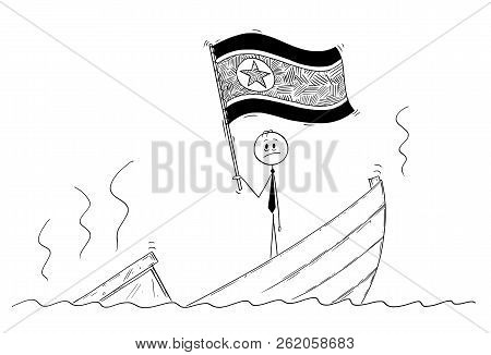 Cartoon stick drawing conceptual illustration of politician standing depressed on sinking boat waving the flag of Democratic People's Republic of Korea or North Korea. stock photo