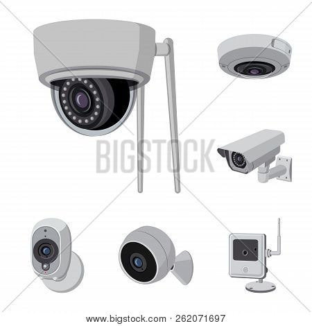 Vector illustration of cctv and camera icon. Collection of cctv and system vector icon for stock. stock photo