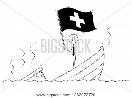 Cartoon stick drawing conceptual illustration of politician standing depressed on sinking boat waving the flag of Swiss Confederation or Switzerland. stock photo