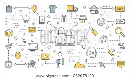 Omnichannel concept. Many communication channels with customer stock photo