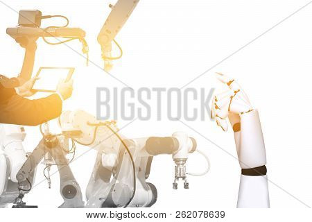 Robotics technology engineers with robotic arms white background and light stock photo
