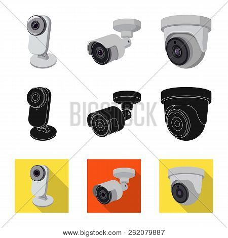 Vector design of cctv and camera icon. Set of cctv and system vector icon for stock. stock photo